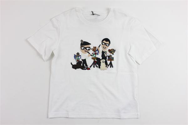 t-shirt mezza manica tinta unita con stampa DOLCE & GABBANA | T-shirts | 9252BIANCO