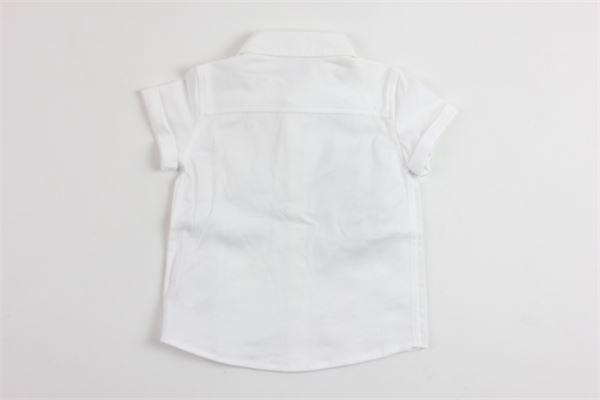 camicia mezza manica tinta unita con stampa dolce e gabbana DOLCE & GABBANA | Camicie | L1JS21G7MRDBIANCO