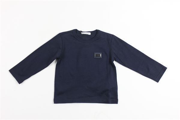 shirt manica lunga tinta unita con stampa dolce e gabbana DOLCE & GABBANA | Shirts | L1JT5KG7KUEBLU