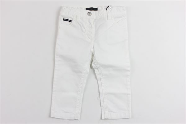 pantalone tinta unita con stampa dolce e gabbana DOLCE & GABBANA | Pantaloni | L21F02LY035BIANCO