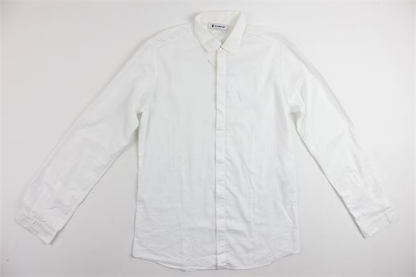 camicia manica lunga tinta unita in cotone DONDUP | Camicie | DMCA25BIANCO