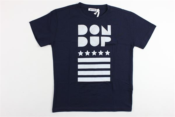 t-shirt mezza manica in cotone tinta stampa dondup in contrasto DONDUP | T-shirt | DMTS21JE134RD015BLU