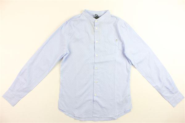 camicia manica lunga microfantasia modello coreano DONDUP | Camicie | SOC00BLNE0280213AZZURRO