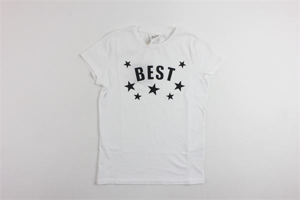 t-shirt mezza manica tinta unita con stampa DOU DOU | T-shirts | 108004BIANCO