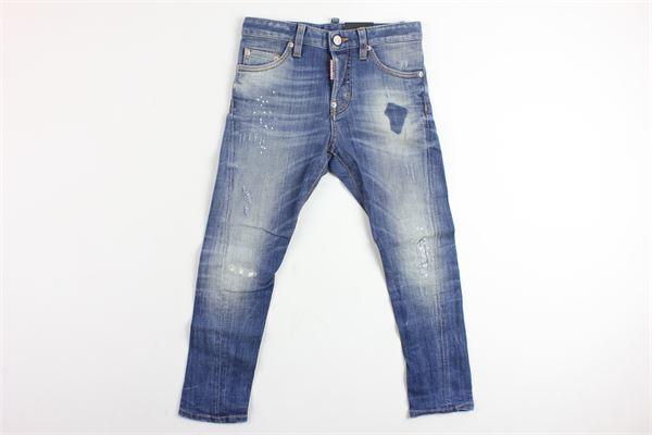 jeans 5 tasche con strappi e stampa dsquared dietro DSQUARED | Jeans | 3944AZZURRO