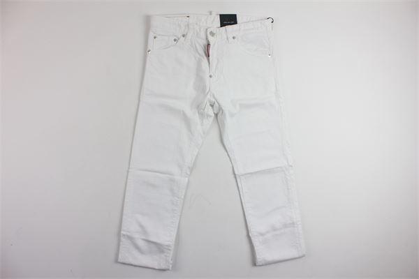 pantalone in denim 5 tasche tinta unita DSQUARED | Pantaloni | B555BIANCO