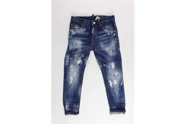 jeans 5 tasche con strappi e microfantasia in pittura DSQUARED | Jeans | DQ021D00SEBLU