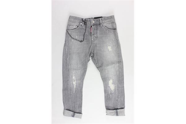 pantalone 5 tasche tinta unita con applicazione DSQUARED | Pantaloni | DQ02VDGRIGIO