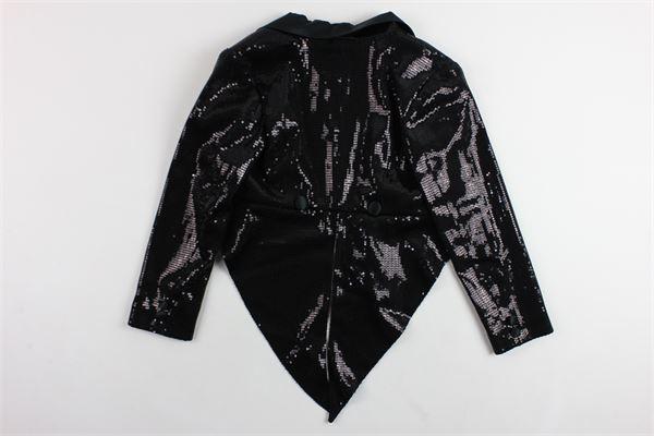 giacca modello frac tinta unita in pailettes ELLA.B | Giacche | EB907NERO
