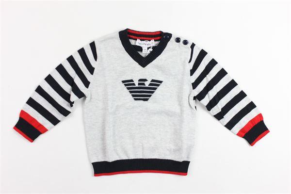 maglia manica lunga tinta unita con logo e maniche rigate EMPORIO ARMANI | Maglie | 6ZHM554M0CZGRIGIO