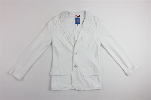 giacca tinta unita in felpa con taschino FAY | Giacche | NBI74367560BIANCO