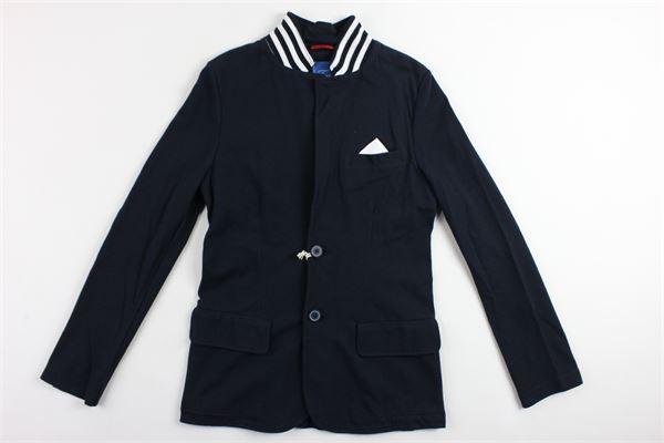 giacca modello lungo tinta unita con taschino e collo in contrasto FAY | Giacche | NBI74367560OIRU807BLU