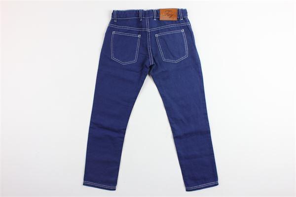 pantalone 5 tasche tinta unita con girovita regolabile FAY | Pantaloni | NUH8036735TBLU