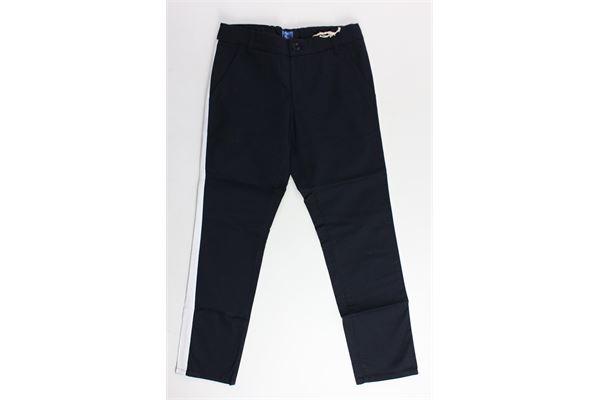 pantalone tinta unita in cotone tasca america profili in contrasto FAY | Pantaloni | NUH8038731LBLU