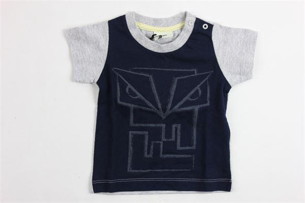 t-shirt mezza manica con stampa e maniche in contrasto FENDI | T-shirts | FSE662BLU