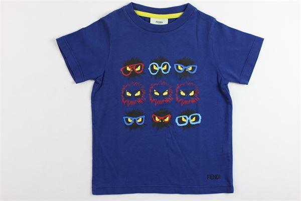 t-shirt mezza manica tinta unita con stampa FENDI | T-shirts | JMI034BLU
