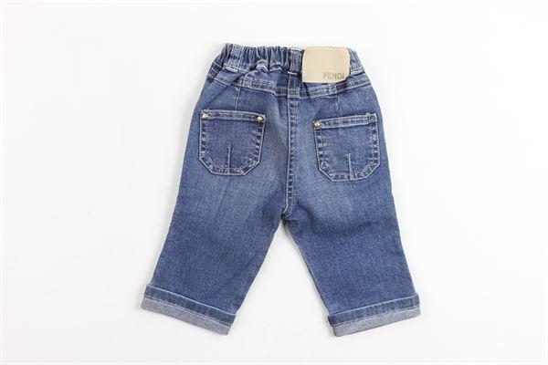 jeans 5 tasche tinta unita elastico in vita FENDI | Jeans | U46000U1175620BLU