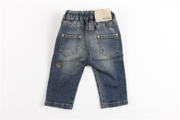 jeans 5 tasche tinta unita elastico in vita FENDI | Jeans | V46010V0070620BLU