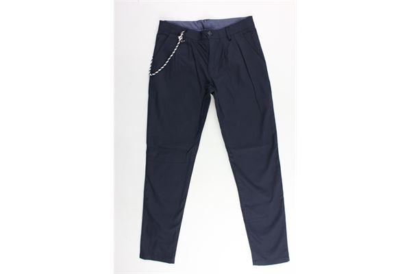 pantalone tinta unita tasca america microfantasia FRED MELLO | Pantaloni | 013344BLU