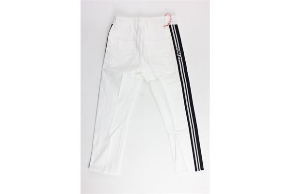 pantalone tinta unita tasca america con profili in contrasto GCDS | Pantaloni | 019520BIANCO