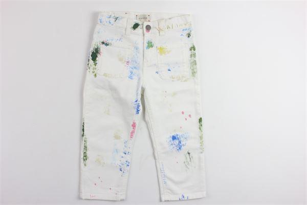 pantaloni in denim fantasia macchie di pittura GUCCI | Pantaloni | BMC499884BIANCO