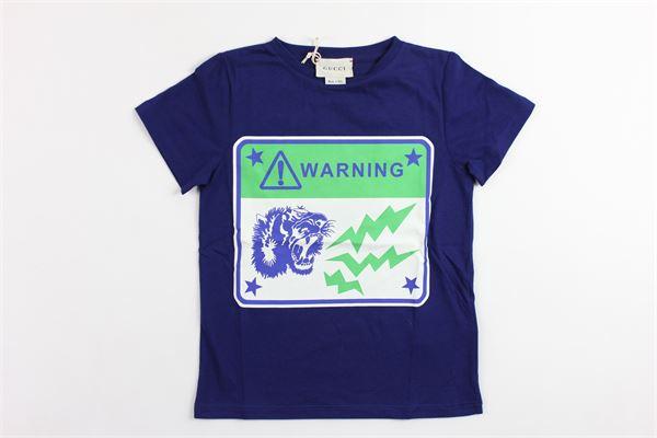 t-shirts mezza manica tinta unita con stampa GUCCI | T-shirts | GWK526775BLU