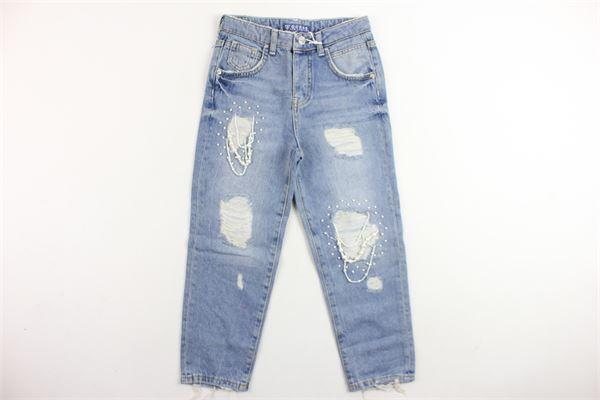 jeans 5 tasche con strappi e applicazioni modello boyfriends GUESS   Jeans   J81A14D2ZQ1-PAGDAZZURRO