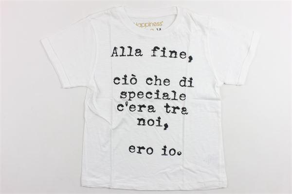 t-shirt mezza manica tinta unita in cotone con stampa HAPPINESS | T-shirts | B23511BIANCO