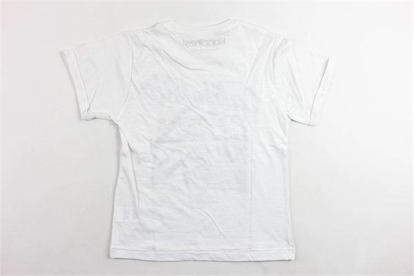 t-shirt mezza manica tinta unita in cotone con stampa HAPPINESS | T-shirts | B26199BIANCO