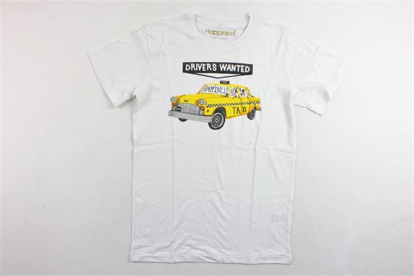 t-shirt mezza manica tinta unita in cotone con stampa HAPPINESS | T-shirts | B2619BIANCO
