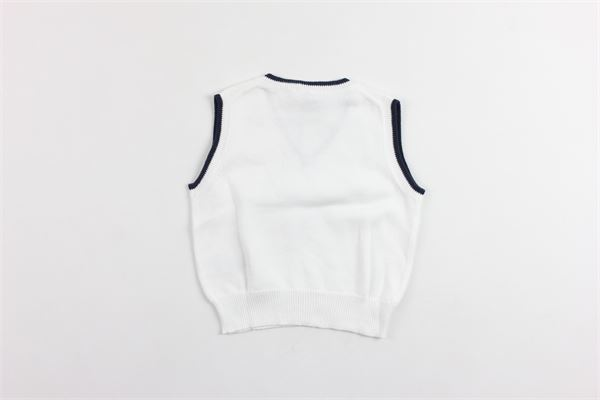 gilet tricot tinta unita profili in contrasto IL GUFO | Gilet | P18GL021EM200BIANCO