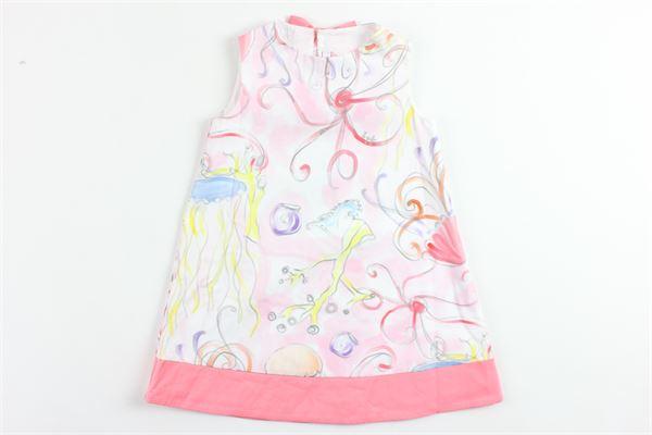 abito giromanica in cotone stampa fantasia con fiocco dietro IL GUFO   Abiti   P19BA245C4049CORALLO