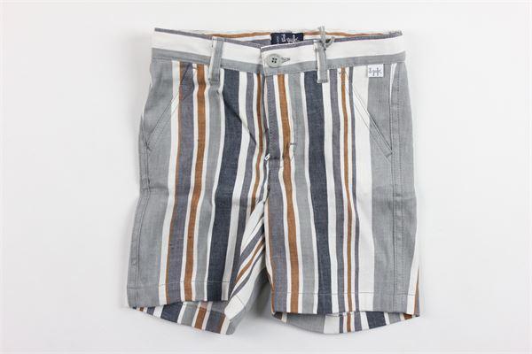 bermuda in cotone tasca america rigato girovita regolabile IL GUFO | Bermuda | P19PB069L1009GRIGIO
