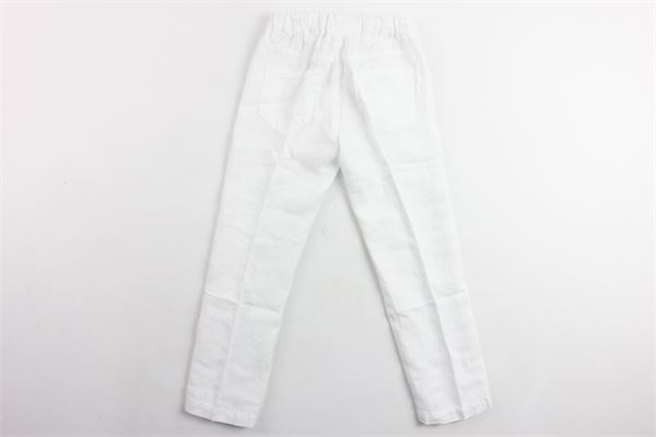 pantalone tinta unita elastico in vita 100%lino IL GUFO | Pantaloni | P19PL195L6007BIANCO