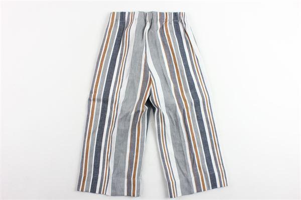 pantalone vita alta elastico in vita a palazzo rigato IL GUFO   Pantaloni   P19PL242L1009BIANCO