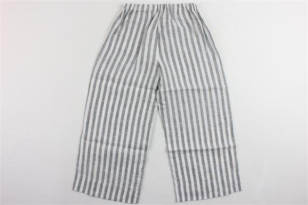 pantalone elastico in vita rigato a palazzo IL GUFO   Pantaloni   P19PL242L1010BIANCO