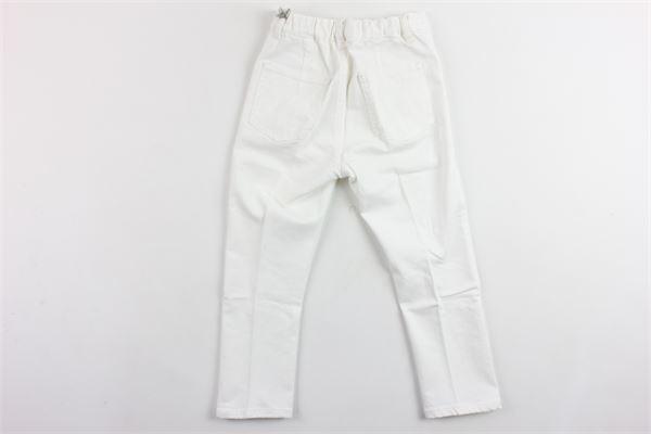 pantalone tinta unita 5 tasche girovita regolabile IL GUFO | Pantaloni | P19PL255J0029BIANCO