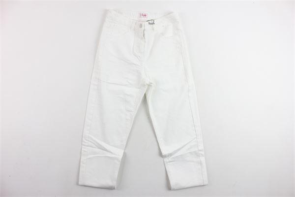 pantalone in denim tinta unita 5 tasche girovita regolabile IL GUFO   Pantaloni   P19PL263J0029BIANCO