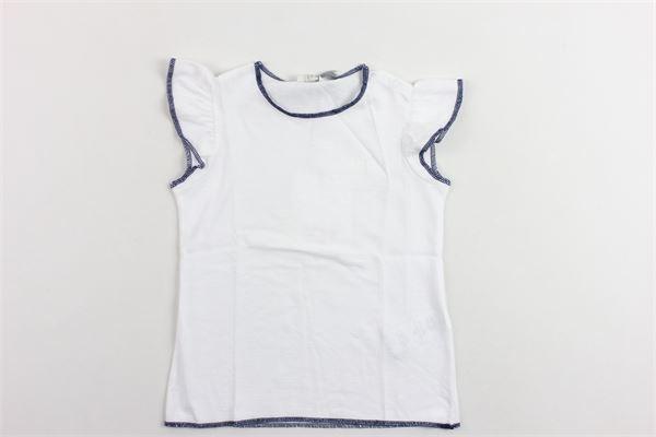 t-shirts mezza manica in cotone profili in contrasto manica con rouches IL GUFO   T-shirts   P19TS170M0014BIANCO