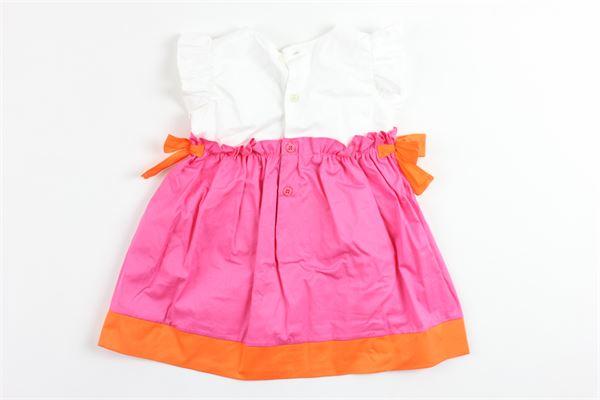 abito giromanica bicolore con fiocchi e rouches alle maniche IL GUFO   Abiti   P19VM526C0046BIANCO