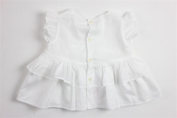 camicia giromanica tinta unita con rouches IL GUFO   Camicie   TT067C6003BIANCO