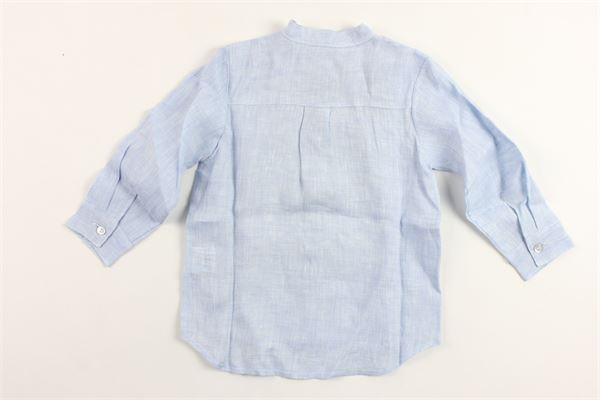 camicia manica lunga tinta unita con taschino collo coreano in lino J.O. MILANO | Camicie | 976Z8AZZURRO