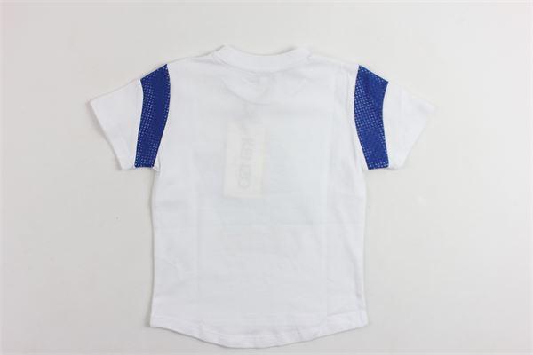 t-shirt mezza manica tinta unita con stampa e profili in contrasto alle maniche KENZO | T-shirts | KN10558BIANCO