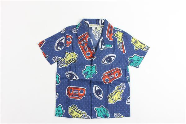 camicia mezza manica tinta unita stampa fantasia KENZO | Camicie | KN12508BLU