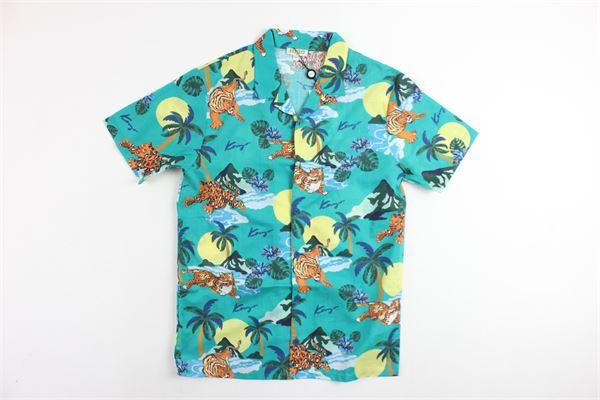camicia mezza manica tinta unita con stampa fantasia KENZO | Camicie | KN12518VERDE