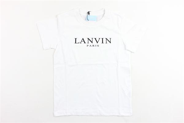 t-shirt mezza manica tinta unita con stampa LANVIN | T-shirts | 4K8031BIANCO