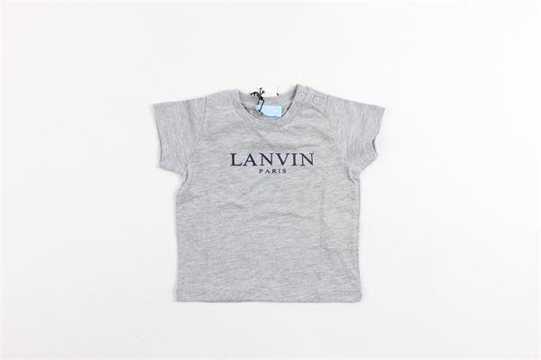 t-shirt mezza manica tinta unita con stampa LANVIN | T-shirts | 4K8311GRIGIO