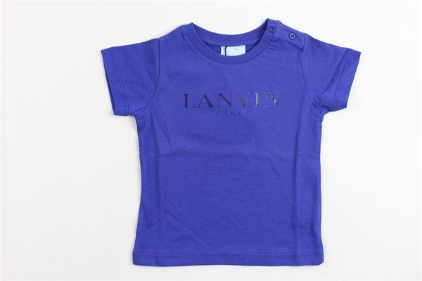 t-shirt mezza manica in cotone stampa lavin LANVIN | T-shirts | 4G8311BLU