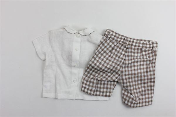 completo camicia mezza manica  più bermuda rigato 100%lino LITTLE BEAR | Completi | 61788634BEBIANCO