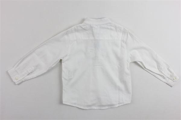 camicia tinta unita manica lunga in cotone modello serafino profili interni in contrasto LITTLE BEAR | Camicie | 6236BIANCO